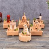 造型木質音樂盒(11X11X16cm款式隨機出貨)