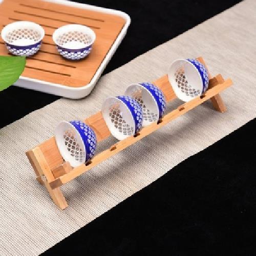 交叉竹製杯架(28X7X6cm)