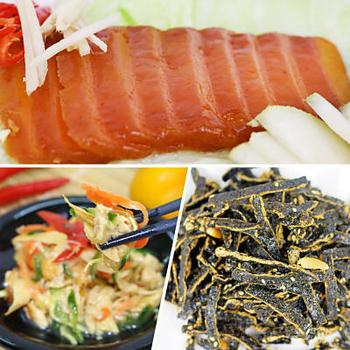 《【高興宴】素人上菜》三合一冷盤組(涼拌豆皮180g+烏魚子75g+海苔酥100g)(現貨D+5)