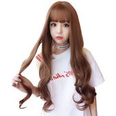 《幸福揚邑》甜美韓風齊瀏海波浪長卷髮美拍直播造型必備女用整頂假髮(亞麻黃)