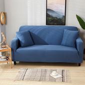 貓抓厚織彈力沙發套-湖藍