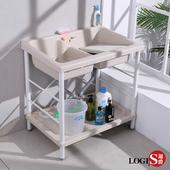 【LOGIS】雙槽面ABS塑鋼洗衣槽 86CM * 56CM 洗手槽 洗手台 (A1001)(白)