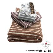 《MORINO》有機棉咖啡紗條紋 顏色隨機出貨(方巾 34X36cm)
