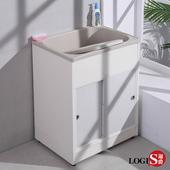 【LOGIS】拉門櫃體洗衣槽62CM * 48CM  洗手台 (A2011)(米白)