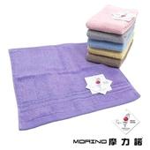 《MORINO》飯店級素色緞台條方巾(粉 33X34cm)