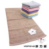 《MORINO》飯店級素色緞條毛巾(粉 34X76cm)