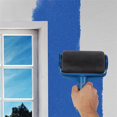 填充式油漆滾筒刷具六件組(大滾筒刷、小滾筒刷、透明筒子、牆邊刷、拖盤各X1、伸縮桿X3)