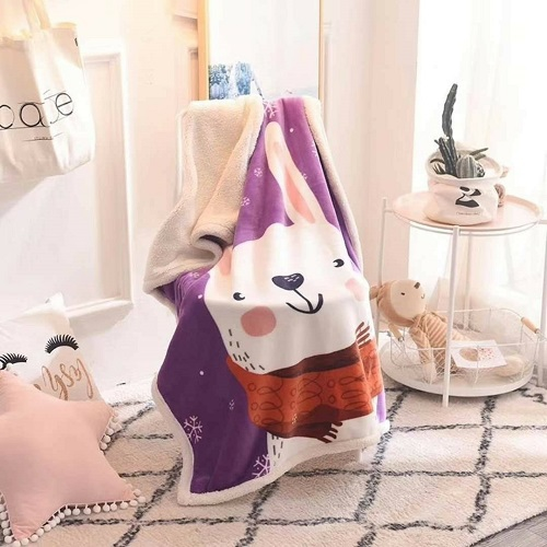 雙層羊羔絨毯(紫色兔子 140X100cm)