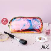 《JIDA》網美款 雷彩TPU耐磨防水厚款半透盥洗包/化妝包(大) 22x10cm