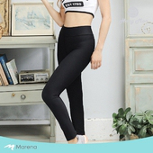 《MARENA》日常塑身運動系列 彈力高腰九分塑身褲(黑色 L)