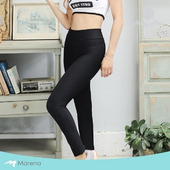 《MARENA》日常塑身運動系列 彈力高腰九分塑身褲(黑色 XL)
