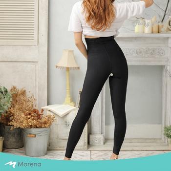 《MARENA》強效完美塑形系列 開檔高腰收腹九分美體褲(黑色 S)