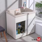 【LOGIS】雙槽拉門櫃體洗衣槽 86CM * 58CM 洗手台 臉盆 浴櫃(A1003)(米白色)