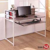 LOGIS 工業風層架電腦桌 木紋書桌 桌子 筆電桌 桌面附插座 層架 鋼鐵腳桌 辦公桌 置物架A18-B(淺木紋色)