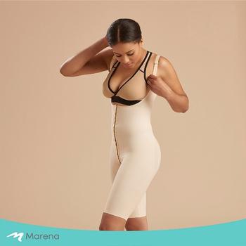 《MARENA》強效完美塑形系列 護腰美背膝上型排扣式塑身衣(膚色 S)