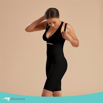《MARENA》強效完美塑形系列 護腰美背膝上型排扣式塑身衣(黑色 XL)