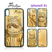 《Artiger》iPhone原木雕刻手機殼-動物系列2(iPhoneX Xs)(浣熊)
