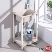 【LOGIS】 49CM*40CM 小巧塑鋼ABS 水龍頭洗衣槽 洗手槽 洗手台 A1012(米白)