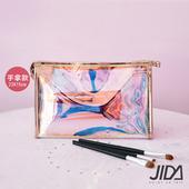 《JIDA》網美款 雷彩TPU耐磨防水厚款半透盥洗包/化妝包(手拿款) 23x15cm