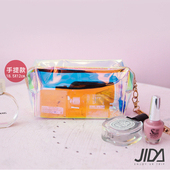 《JIDA》網美款 雷彩TPU耐磨防水厚款半透盥洗包/化妝包(手提款) 18.5x12cm