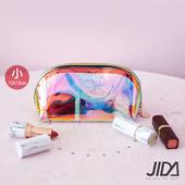 《JIDA》網美款 雷彩TPU耐磨防水厚款半透明化妝包(小) 19x10cm