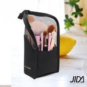 《JIDA》網美愛用款 透明網格多功能防水化妝包/刷具收納包(黑色)