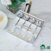 《佶之屋》台灣製 精緻小巧陶瓷柄花型咖啡匙/茶匙4入(白色)