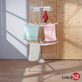 LOGIS 簡易毛巾晾衣架 內衣襪子晾曬架 不鏽鋼落地三層架【E-OX】(不鏽鋼)