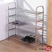 LOGIS 加寬不鏽鋼鞋架 五層架 層架 收納置物架 拖鞋架 鞋櫃【EM-S5】(不鏽鋼)