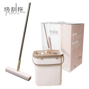 《佶之屋》萬用清潔吸刮拖3件組(含拖把桿x1、桶身x1、膠棉頭x1)