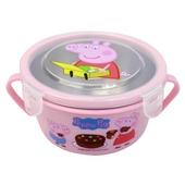 《佩佩豬》不鏽鋼雙耳隔熱餐盒(粉 15.3X12.5X6.5cm)