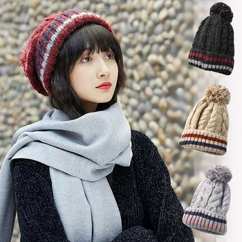 《幸福揚邑》條紋毛球雙層保暖護耳小顏針織毛線帽(黑)