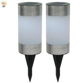 《月陽》超值2入圓柱太陽能充電式自動光控LED庭園燈草坪燈插地燈(5013B2)