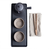 《SCENEAST》中式鐵銹枯山水套裝茶具組(壺容量150ML,杯子容量55ML,茶盤35*13CM)