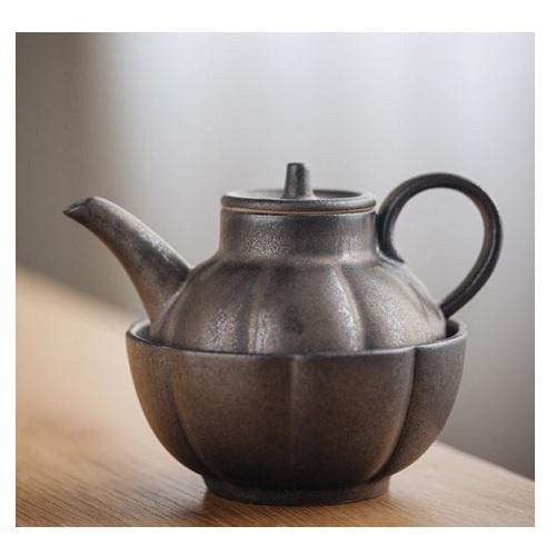 《SCENEAST》中式茶壺銅銹古銅快客杯一壺一杯(壺 5*12.5*8.5   杯9.5*9.5*4.8)
