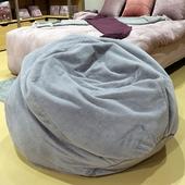 《Novella Amante》現代奢華風絨毛懶骨頭沙發 110*110*48cm(ZX17011 - 灰色 (面料6))