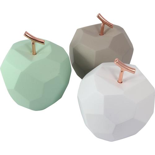《halla malmo》幾何蘋果擺件(11x11x13.2cm-淺灰)