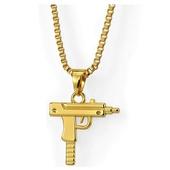 《嘻哈潮牌》T77衝鋒槍造型金項鍊(金)