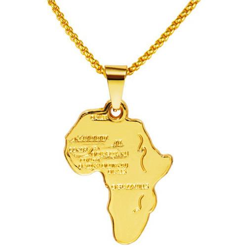 《嘻哈潮牌》電鍍非洲地圖造型金項鍊(金)