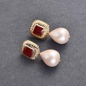 復古典雅紅珍珠耳環(1對)