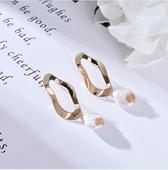 典雅珍珠耳環(矩形)