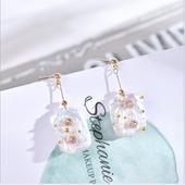 粉藍系列珍珠耳環(粉)