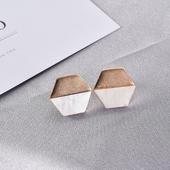 六邊典雅珍珠耳環(金)