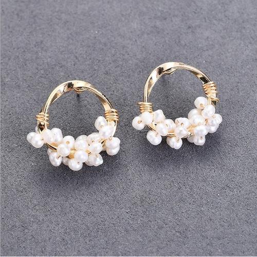 串花珍珠耳環(小圓)