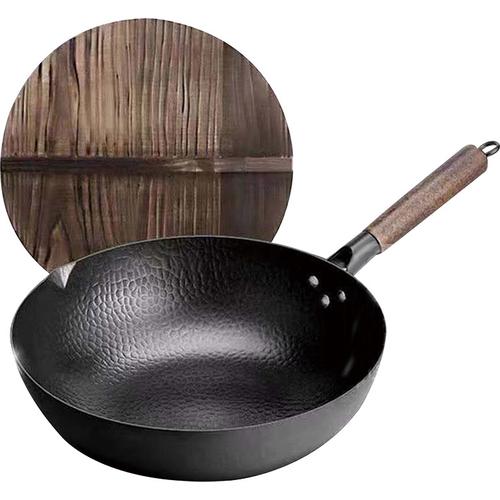 手工鑄造不沾老鐵鍋(附木鍋蓋+贈木匙)(32cm-附玻璃蓋)