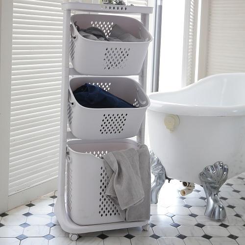 雙向旋轉三層衣物洗衣籃(440X330X1090mm)