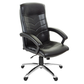 《GXG》高背皮面 電腦椅 (鋁合金腳座/防刮輪) TW-1005 LU(黑色)