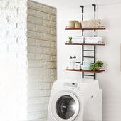 《C&B》頂天立地壁面多用途廚衛冰箱洗衣機置物架-深胡桃色(深胡桃色)