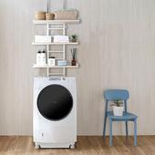 《C&B》頂天立地壁面多用途廚衛冰箱洗衣機置物架-深胡桃色(白橡白色)