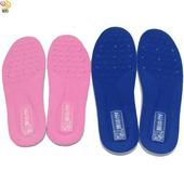 《月陽》超值2入台灣製造專利厚10mm乳膠通用型按摩可裁剪透氣減震鞋墊(2AC097)(藍色)